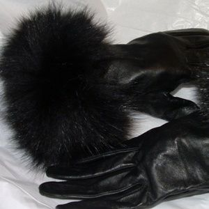 Designer Fox Fur trimmed Black Leather Gloves
